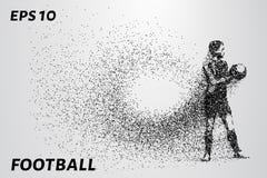 Voetbal van de deeltjes De keeper houdt munt in zijn handen De samenstelling bestaat uit kleine cirkels Eps 10 stock afbeeldingen