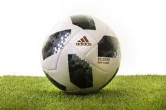 Voetbal van de het Zweefvliegtuigwereldbeker 2018 van Adidas Telstar de Hoogste Stock Afbeeldingen