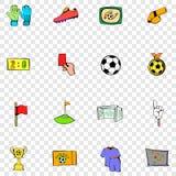 Voetbal vastgestelde pictogrammen Stock Foto