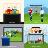 Voetbal 4 vlakke pictogrammen vierkante samenstelling Royalty-vrije Stock Foto's