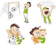 Voetbal - voetbal grappige karikaturen Royalty-vrije Stock Foto's