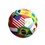 Voetbal of voetbal met landen die op een witte achtergrond worden geïsoleerd Royalty-vrije Stock Foto