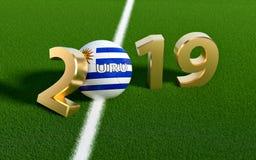 Voetbal 2019 - Voetbalbal in de vlagontwerp van Uruguay op een voetbalgebied Voetbalbal die 0 in 2019 vertegenwoordigen vector illustratie