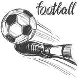 Voetbal, voetbalbal, sportenspel, kalligrafische tekst, embleemteken, hand getrokken vectorillustratieschets Stock Afbeelding