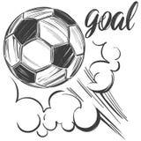 Voetbal, voetbalbal, sportenspel, kalligrafische tekst, embleemteken, hand getrokken vectorillustratieschets Royalty-vrije Stock Foto