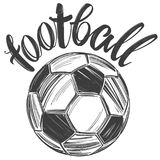 Voetbal, voetbalbal, sportenspel, kalligrafische tekst, embleemteken, hand getrokken vectorillustratieschets Royalty-vrije Stock Afbeelding