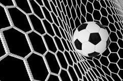 Voetbal of Voetbalbanner met 3d Impuls zwarte achtergrond De gelijkeontwerp van het voetbalspel van doelogenblik met realistische Royalty-vrije Stock Afbeelding
