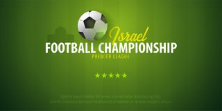 Voetbal of Voetbalontwerpbanner Israel Football-kampioenschap Vectorbal Vector illustratie royalty-vrije illustratie