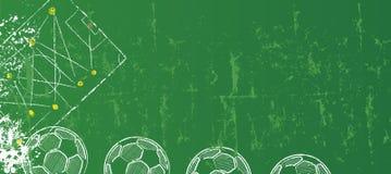 Voetbal of voetbalontwerpsjabloon, grunge, vrije exemplaarruimte stock illustratie
