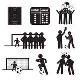 Voetbal of Voetbalpictogrammen Royalty-vrije Stock Afbeeldingen