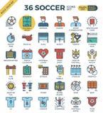 Voetbal/Voetbalpictogrammen Stock Afbeeldingen