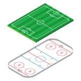 Voetbal, voetbalspeelplaats en hockeyspeelplaats Stock Foto
