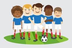 Voetbal of voetbalteam op het gebied met bal Stock Afbeelding