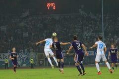 Voetbal of voetbalwedstrijdspel stock fotografie