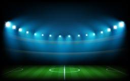 Voetbalarena met lichten wordt verlicht dat royalty-vrije illustratie