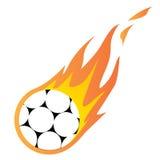 Voetbalbal in brand Royalty-vrije Stock Fotografie