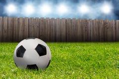 Voetbalbal in de tuin Royalty-vrije Stock Afbeelding