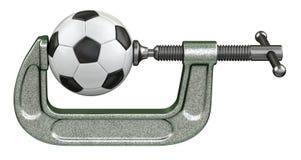 Voetbalbal die in een g-Klem drukken Royalty-vrije Stock Foto