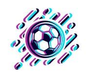 Voetbalbal in een glitch effect vectordieillustratie op wit wordt geïsoleerd Voetbalbal in een glitch effect stock illustratie
