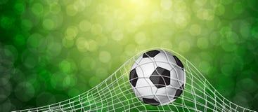 Voetbalbal in een Net Vector Royalty-vrije Stock Afbeelding