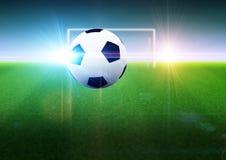 Voetbalbal en doel op gebied royalty-vrije illustratie