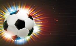 Voetbalbal en vuurwerk vector illustratie