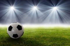 Voetbalbal in het stadion Royalty-vrije Stock Foto's