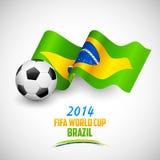 Voetbalbal met Braziliaanse Vlag Royalty-vrije Stock Foto's