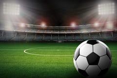 Voetbalbal met de achtergrond van het voetbalstadion royalty-vrije illustratie