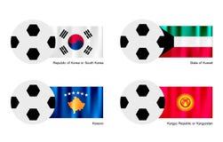 Voetbalbal met de Vlag van Zuid-Korea, van Koeweit, van Kosovo en van Kyrgyzstan Stock Foto