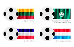 Voetbalbal met Litouwen, Macao, Los Alten en de Vlag van Luxemburg Royalty-vrije Stock Fotografie