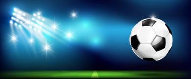 Voetbalbal met stadion en verlichting 002 stock illustratie