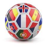 Voetbalbal met vlaggen van gekwalificeerde natiesteams voor Euro 2016 Royalty-vrije Stock Foto's