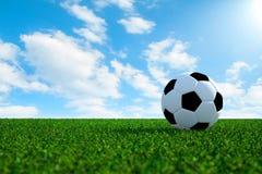 Voetbalbal op gebied met hemelachtergrond Stock Foto