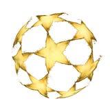 Voetbalbal van bierplonsen wordt gemaakt op witte achtergrond die Royalty-vrije Stock Afbeelding