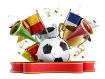 Voetbalbal, vlaggen, lint en trompetten 3D Illustratie Royalty-vrije Stock Afbeelding