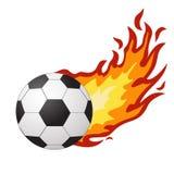 Voetbalbal in vlammen van brand op een wit stock illustratie