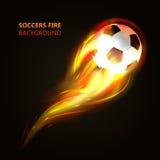 Voetbalbal in vlammenconcept Stock Afbeeldingen