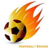 Voetbalbal of voetbalbal met rode oranjegele toonbrand op de witte achtergrond Embleem van voetbal of voetbalclub Stock Afbeelding