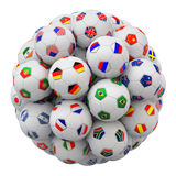Voetbalballen met de vlaggen van natiesteams Royalty-vrije Stock Foto's