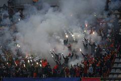 "Voetbalclub ""Metallurg†, Zaporozhye, Ukrain royalty-vrije stock foto's"