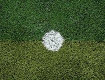 Voetbalgebied bij strafschopvlek Stock Fotografie