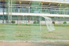 Voetbalgebied door Draadnet Royalty-vrije Stock Fotografie