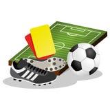 Voetbalgebied en Bal Vectorillustratie Stock Foto