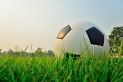 Voetbalgebied en stadion met ventilators de nacht vóór de gelijke, s royalty-vrije stock foto's
