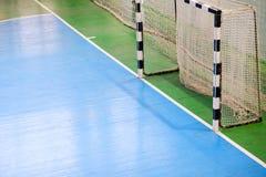 Voetbalgebied, Futsal-balgebied in de gymnastiek binnen, het gebied van de Voetbalsport Stock Afbeelding