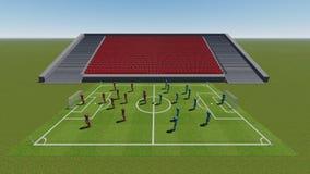 """Voetbalgebied met de spelers â """"– 3 stock foto"""