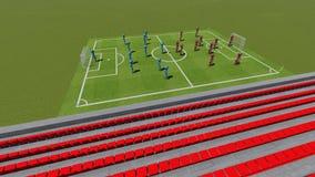 Voetbalgebied met de spelers #1 Stock Afbeelding