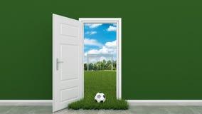 Voetbalgebied met deur Stock Foto's