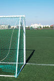 Voetbalgebied met een kunstmatig gras Royalty-vrije Stock Foto